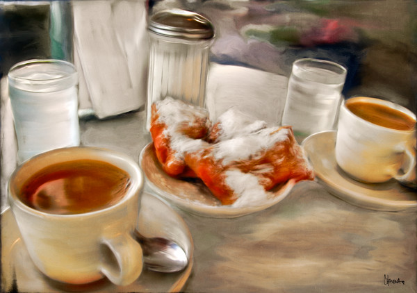 Breakfast in New Orleans painting for sale by Christina Stefani. Choose prints on paper, canvas or metal.