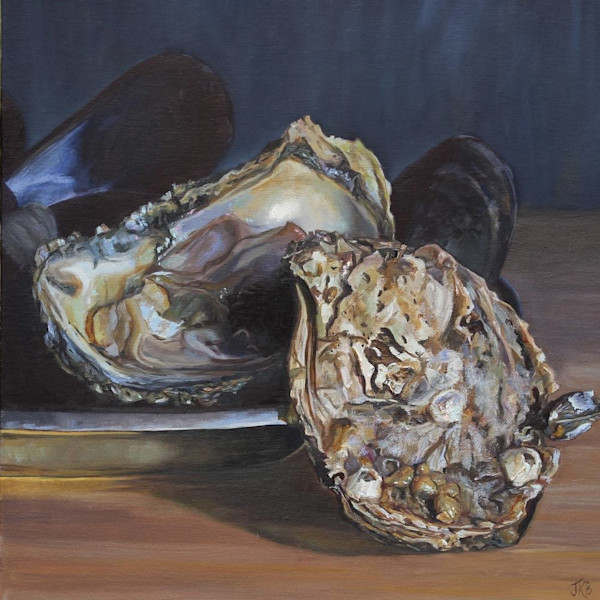 the rough exterior of an oyster shell contrasts with its shimmering opalescent interior in Oyster Love by Jennifer Kahn Barlow.