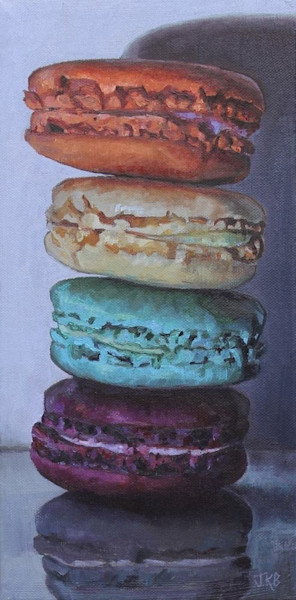 A delectable tower of crispy, chewy macarons are waiting to be enjoyed in this original oil painting by Jennifer Kahn Barlow.