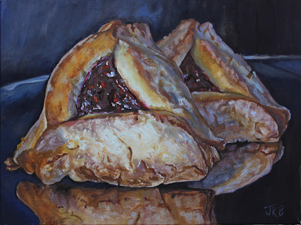 These beautiful triangle shaped flaky pastry pockets are filled with a glistening raspberry filling in this painting by Jennifer Kahn Barlow.