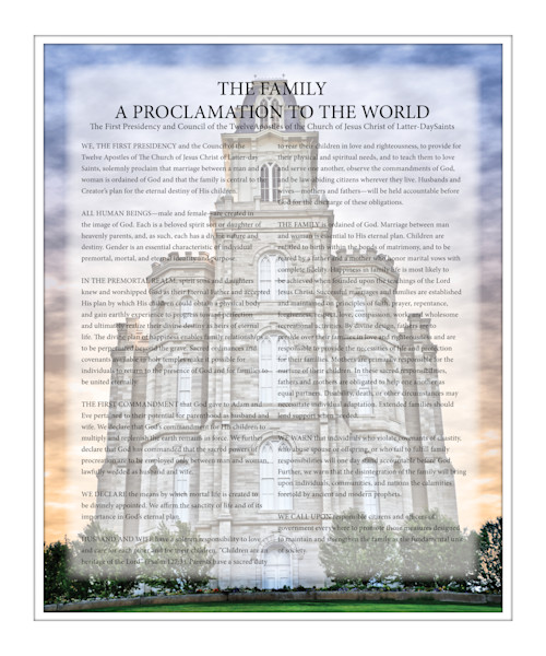 Family Proclamation Manti LDS Temple Print