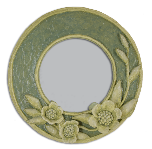 Buy a beautiful green floral paper mache mirror for an arty wall in your home.