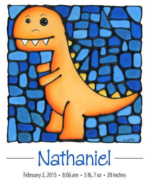 T-rex personalized print with baby's name and birth details