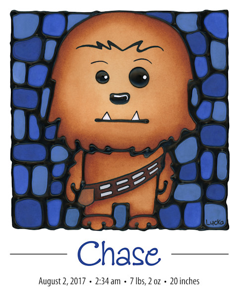 Personalized Chewy print with baby's name and birth details
