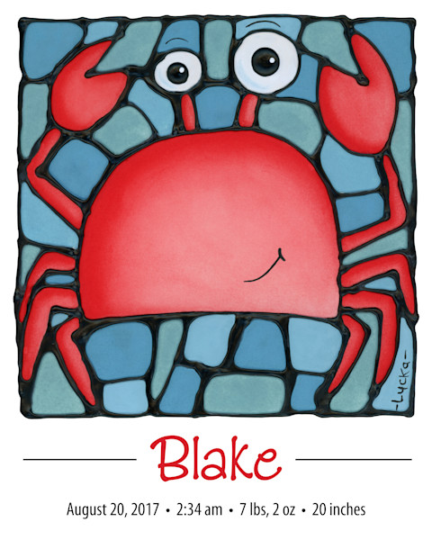 Personalized crab print with birth details