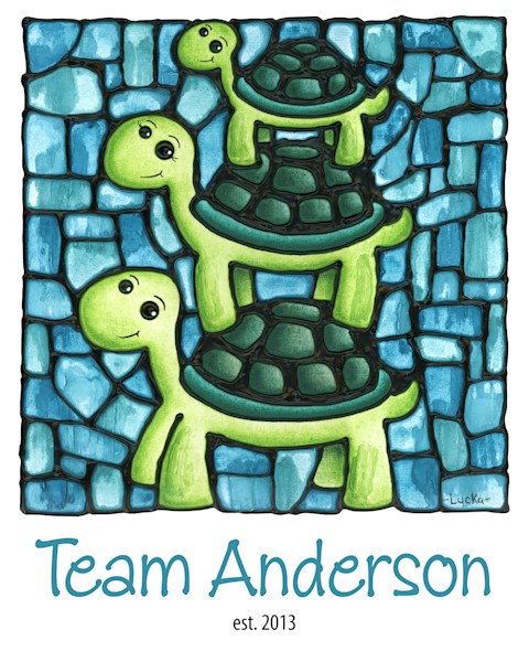 Personalized Turtle family print with family name