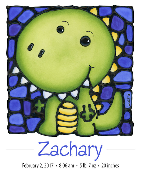 Personalized Smiley Dinosaur with birth details