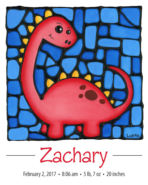 Personalized spiky dinosaur print including full birth details