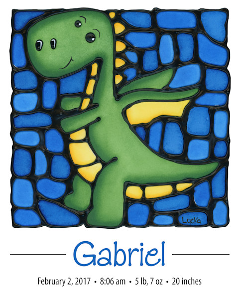 Personalized dragon print with baby name and birth details