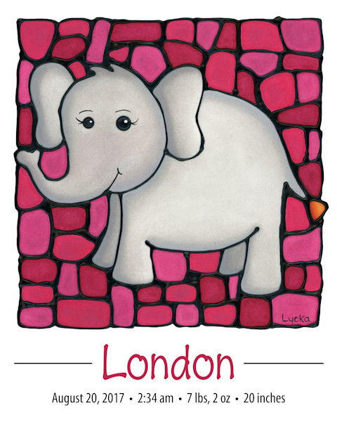 Personalized elephant print including name and birth details