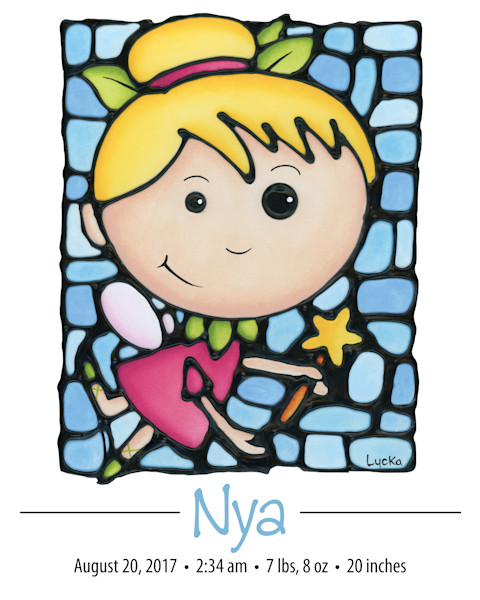 Personalized fairy print with name and birth details