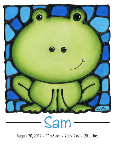 Personalized frog print with name and birth details