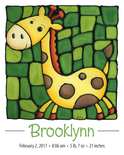 Personalized Giraffe Print on a green background including name and birth details