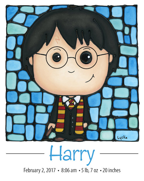 Personalized Hary Potter print with name and birth details