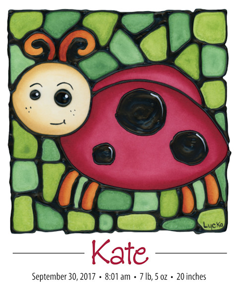 Personalized Ladybug print with baby's name and birth details