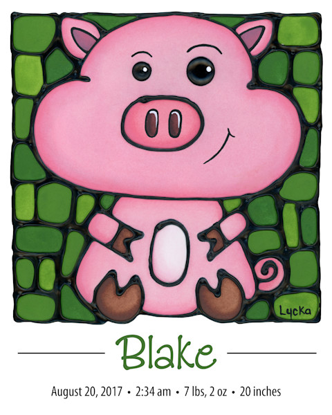 Personalized Pig Print