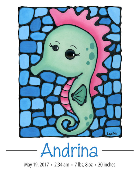 Personalized Seahorse Print