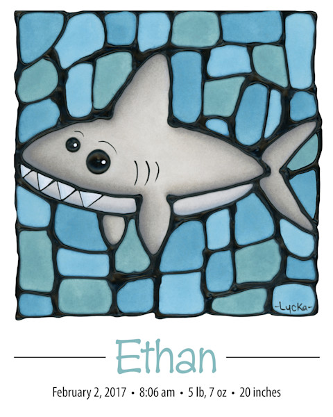 Personalized Shark Print
