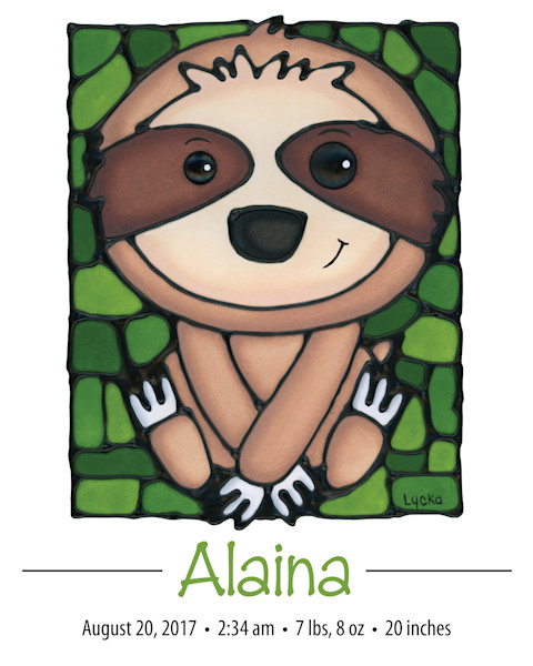 Personalized Sloth Print