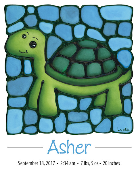 Personalized Turtle Light Blue Print