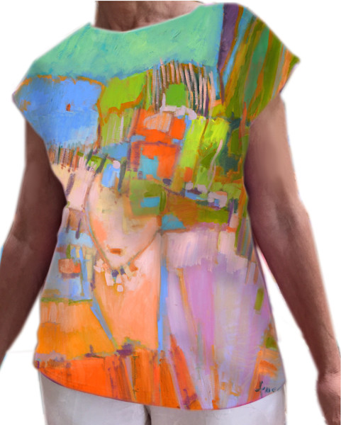 Goddess Rising Top, Hand painted blouse, wearable art