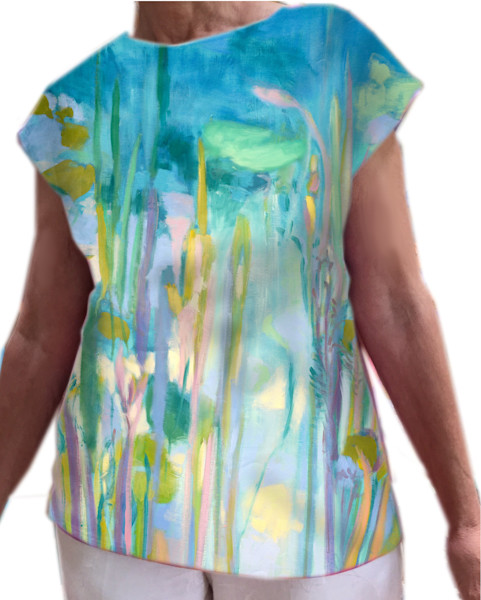 A Pond of My Own Waterlilies Top, Wearable Art, Dorothy Fagan Collection