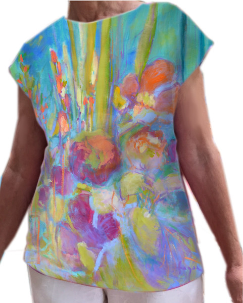 Something's Blooming Top Poppies Hand Painted Blouse, Dorothy Fagan Collection