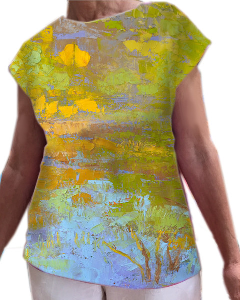 Wearable Art Off-the-Shoulder Top with Boat Neckline, My Pond, Really!
