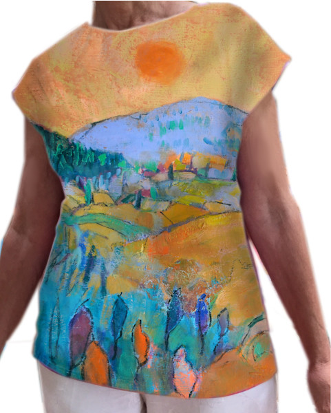 Wearable Art, Tuscan Dream Landscape Top, Dorothy Fagan Collection