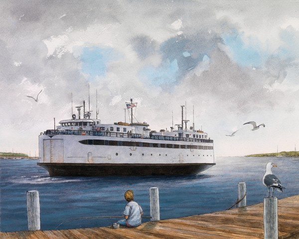 Watercolor of the classic ferry The Islander by David Dunthorne