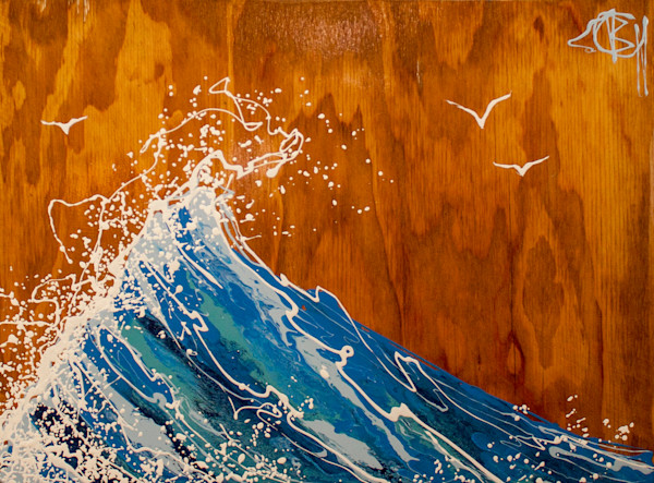 Summer Wave Drip Art, Natural Wood