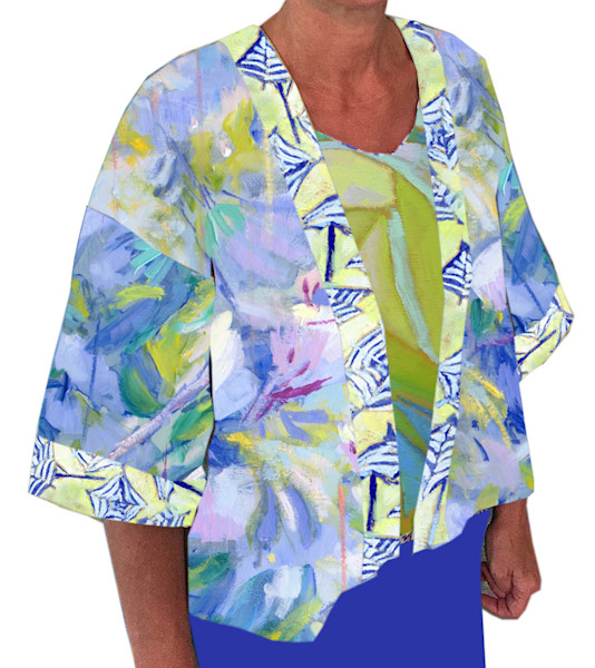 Short Kimono Jacket with Hand Painted Azalea Dorothy Fagan Collection