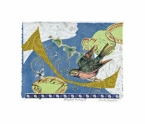 Flights of Fantasy 2, Ouida Touchon fine artist, artwork for sale, chine colle collage with hand stitching.