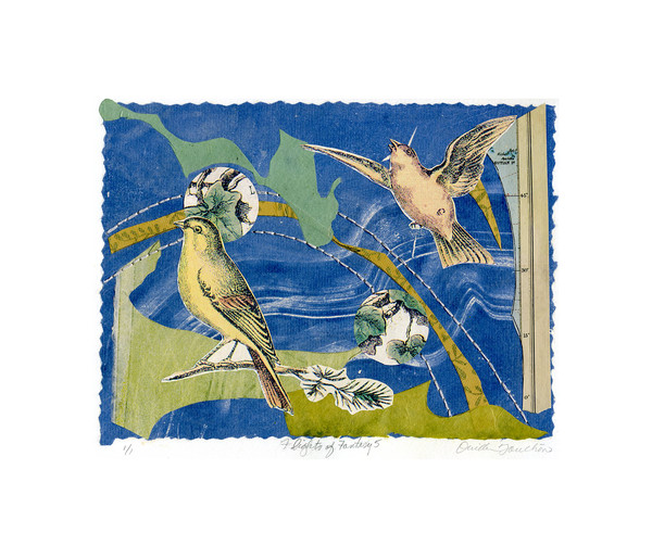 Flights of Fantasy 5, chine colle collage with hand stitching, fine art by Ouida Touchon, New Mexican printmaker, for sale