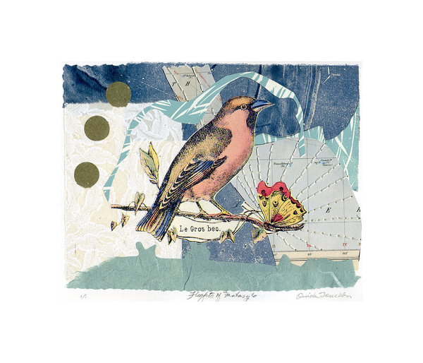 'Flights of Fantasy 6', new work, original collage with hand stitching,  fine art for sale by Ouida Touchon, fine artist, works on paper.