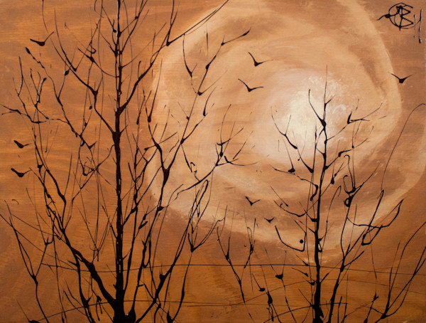 Original Drip Paintings of Stormy & Graceful Trees