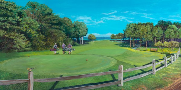 Painting of Farm Neck Golf Club on Martha's Vineyard