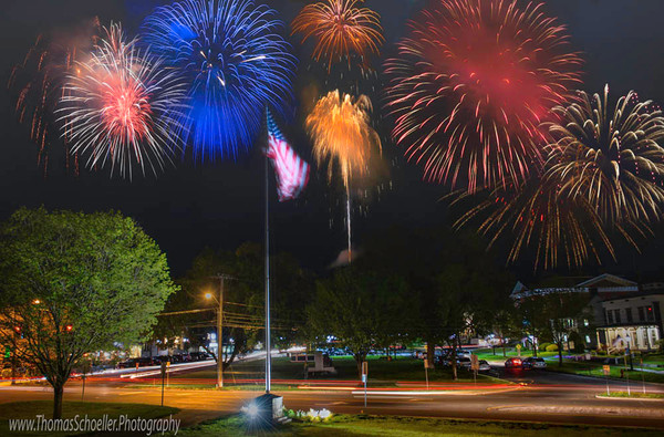 Fireworks displayed over the village of New Milford Connecticut/Show your local pride! Fine art prints available to purchase