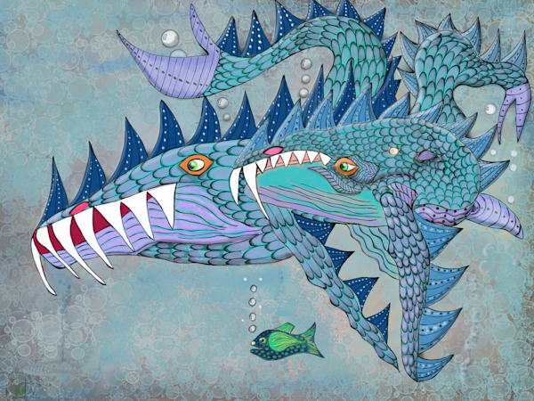 Megapterratus (Blue Whale) Dragon And Frankie The Fish Fine Art Print