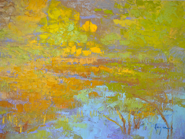 Colorful Abstract Water Reflections Painting, Art Print on Canvas My Pond, Really! by Dorothy Fagan