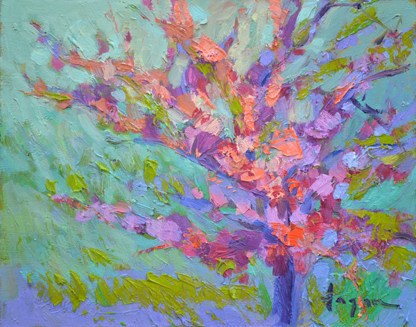 Red Bud Blooming, oil painting, Dorothy Fagan Collection
