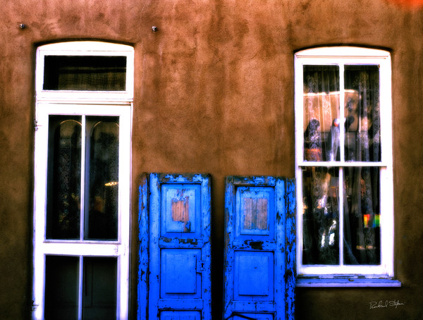 Blue Doors – Taos New Mexico photograph by Richard Stefani for sale