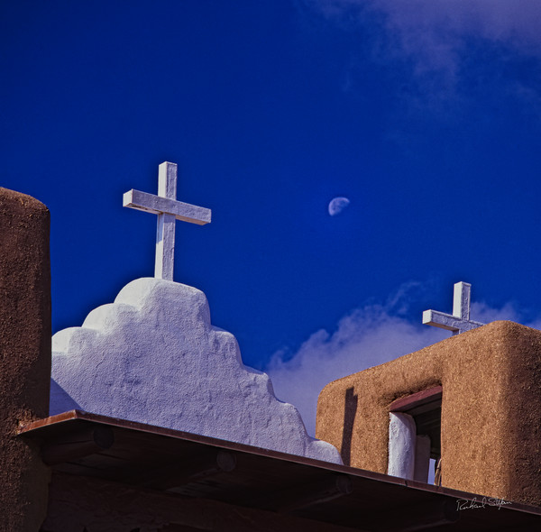 Moon Over Taos Church photograph by Richard Stefani