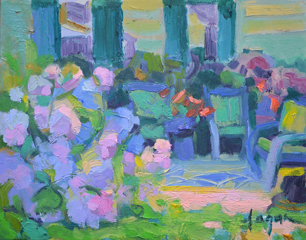 Hydrangea Haven, small oil painting Dorothy Fagan Collection