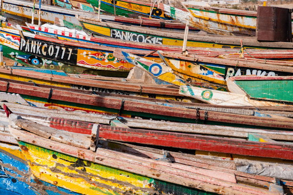 colorful fishing boats in Nouakchott photograph abstract art
