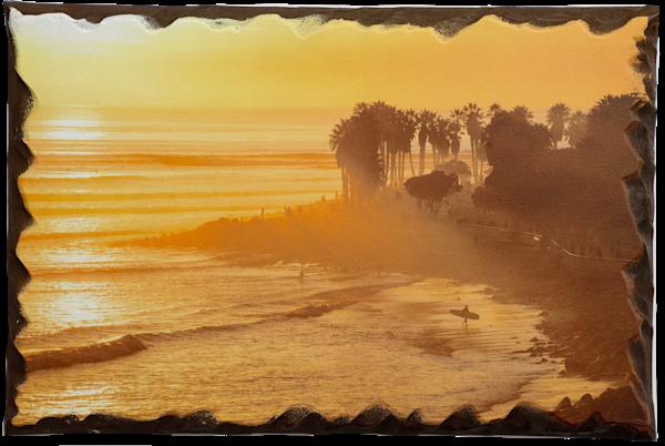 """C Street Sunset"" Artisan Wood Print - 18""x12"""