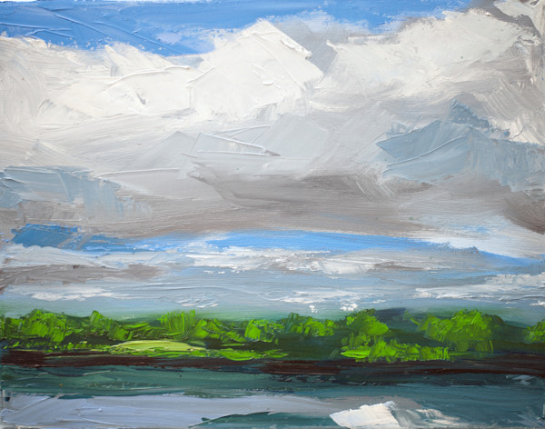 Mystic River Clouds painting by Paul William | Art for Sale