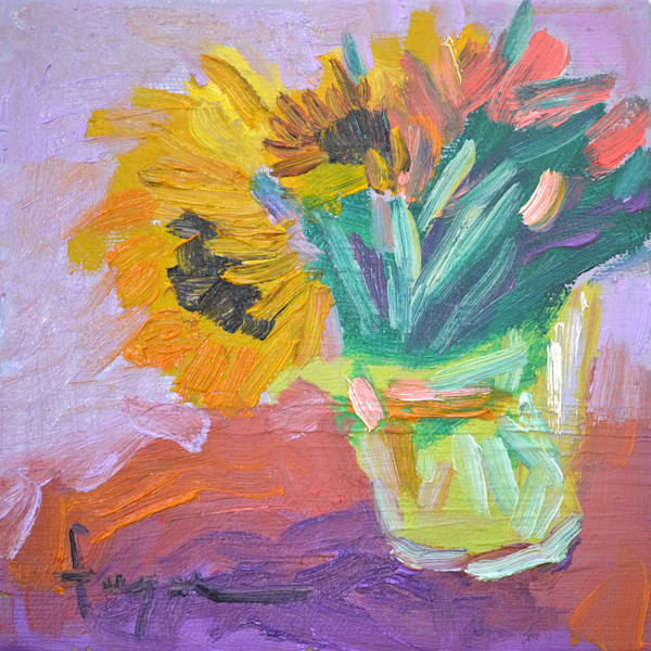 Great Big Sunflower Hugs | Original Oil Painting by Dorothy Fagan