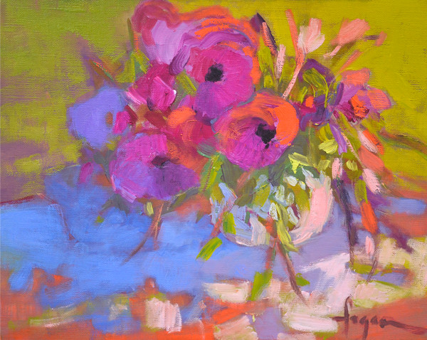 Colorful Contemporary Floral Art, Fuchsia Coral Print on Canvas or Paper, Blooming by Dorothy Fagan