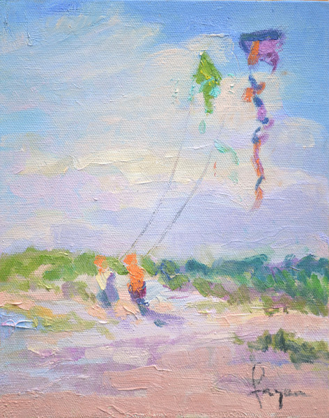 Let's Go Fly a Kite, Oil Painting, Dorothy Fagan